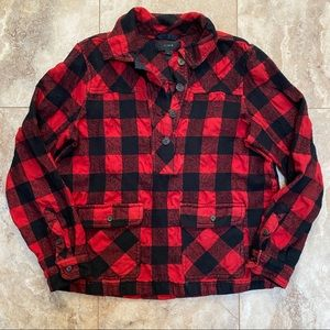 J Crew Shirt-Jacket Buffalo Check Plaid Wool Blend Popover size S Small